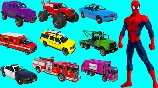 LEARN VEHICLES 3D FOR KIDS With SPIDERMAN Fun cartoon movie l Nuresy Rhymes Songs for childrens