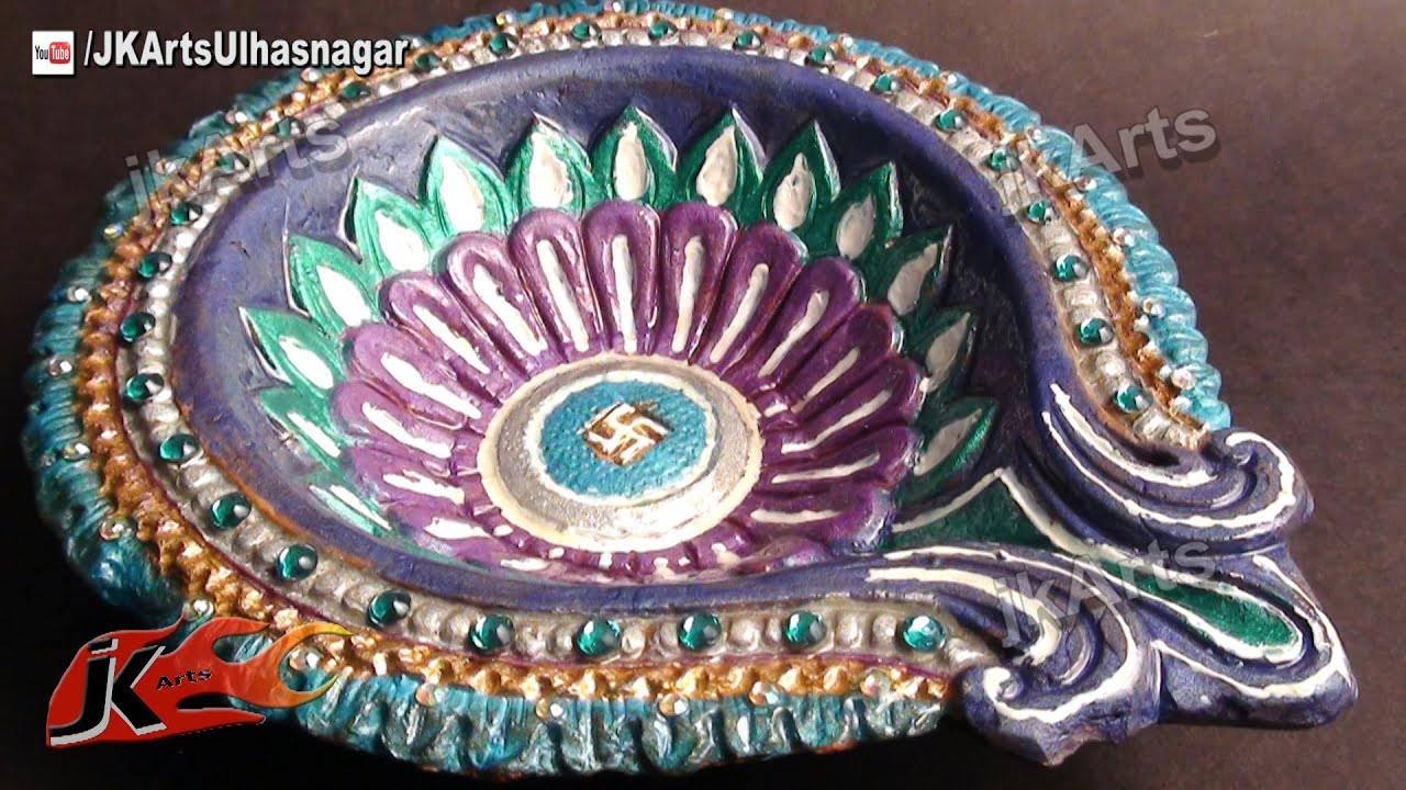 Diya decoration with waste material the for Diya decoration youtube