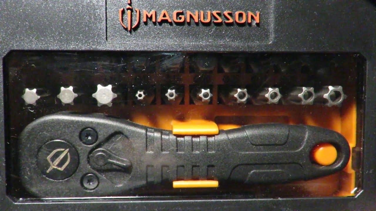magnusson mini coffret de vissage 32 pcs avec cl cliquet poubelle youtube. Black Bedroom Furniture Sets. Home Design Ideas
