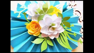 DIY Hanging Paper Rosette with DIY Paper flowers