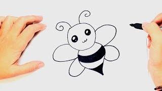 Cómo dibujar un Abeja Kawaii de forma fácil para niños. Aprende con este dibujo de Abeja Kawaii paso a paso.
