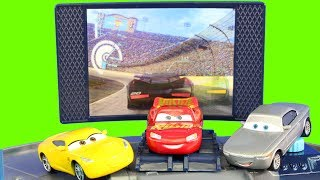 Disney Cars 3 Batman Lightning McQueen Battles Lemons At Rust-Eze Racing Center Races Jackson Storm