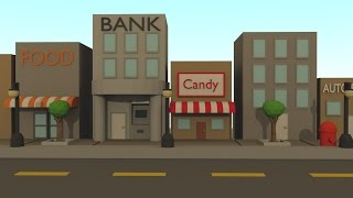 Low Poly City Scene Time lapse [Blender]