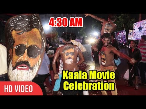 Kaala GRAND Celebration (Mumbai) In Heavy Rain | 4:30 AM | Rajnikanth Crazy Fans