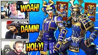 STREAMERS REACT TO *NEW* MUSHA & HIME SAMURAI SKINS! *LEGENDARY* Fortnite FUNNY & SAVAGE Moments