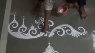 Free hand rangoli design by Satish Thavi Pongal Rangoli Design Kolam without dots