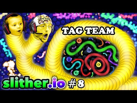 SLITHERio #8: EAT MY DOTS QUICK! Father & Son Tag Team FGTEEV Duddy & Chase Multiplayer Server