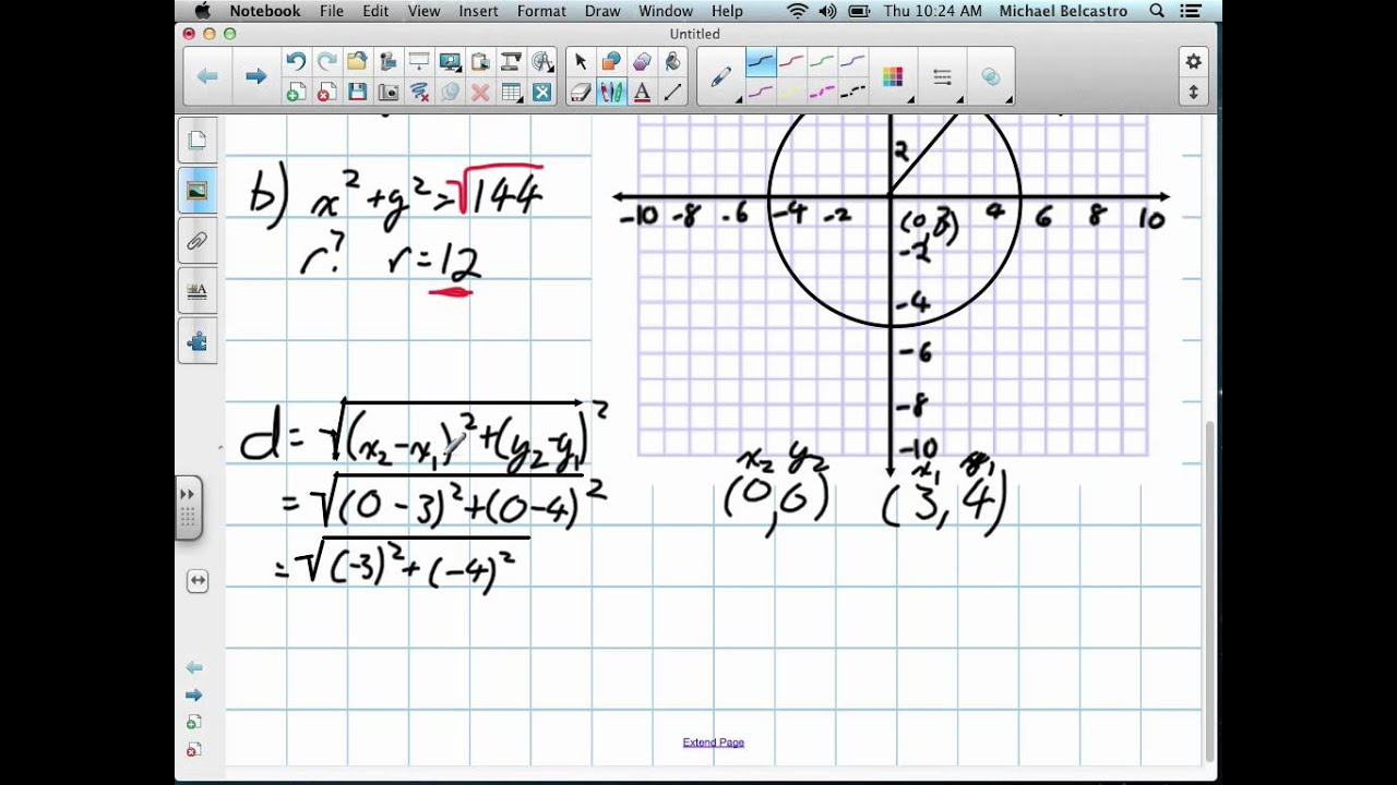 Equation Of A Circle Grade 10 Academic Lesson 2 4 92712 Youtube