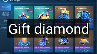 Gift diamond mobile legends bang bang