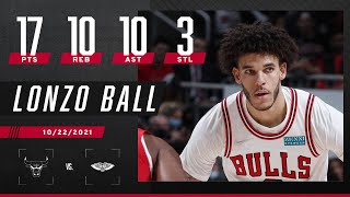 Lonzo Ball goes for 17 PTS, 10 REB, 10 AST & 3 STL vs former team 🍿👀