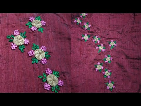 Hand Embroidered Kurti Neck Design / Tutorial / Easy to Learn thumbnail