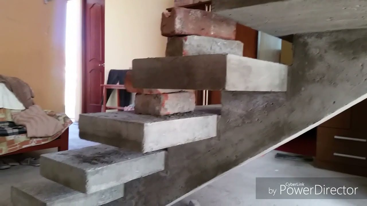 Escalera de concreto con viga central desencofrada youtube for Escaleras de cemento con madera