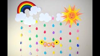 Birthday Decoration Ideas At Home|| Sunshine Theme Room Decor|| Rainbow wall Decorations