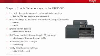 How to Enable Telnet Access on the Avaya ERS3500