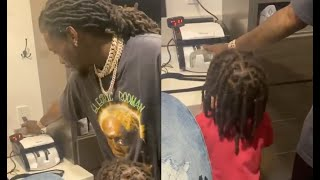 Offset Teaches His Son How To Use Money Counter