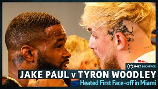 Jake Paul and Tyron Woodley Heated Miami Face-Off!