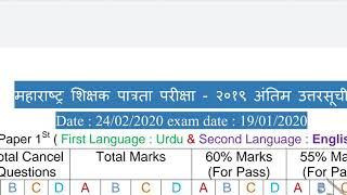 MahaTET 2020 Passing Mark's