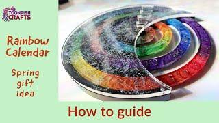 Rainbow resin calendar - DIY gift idea