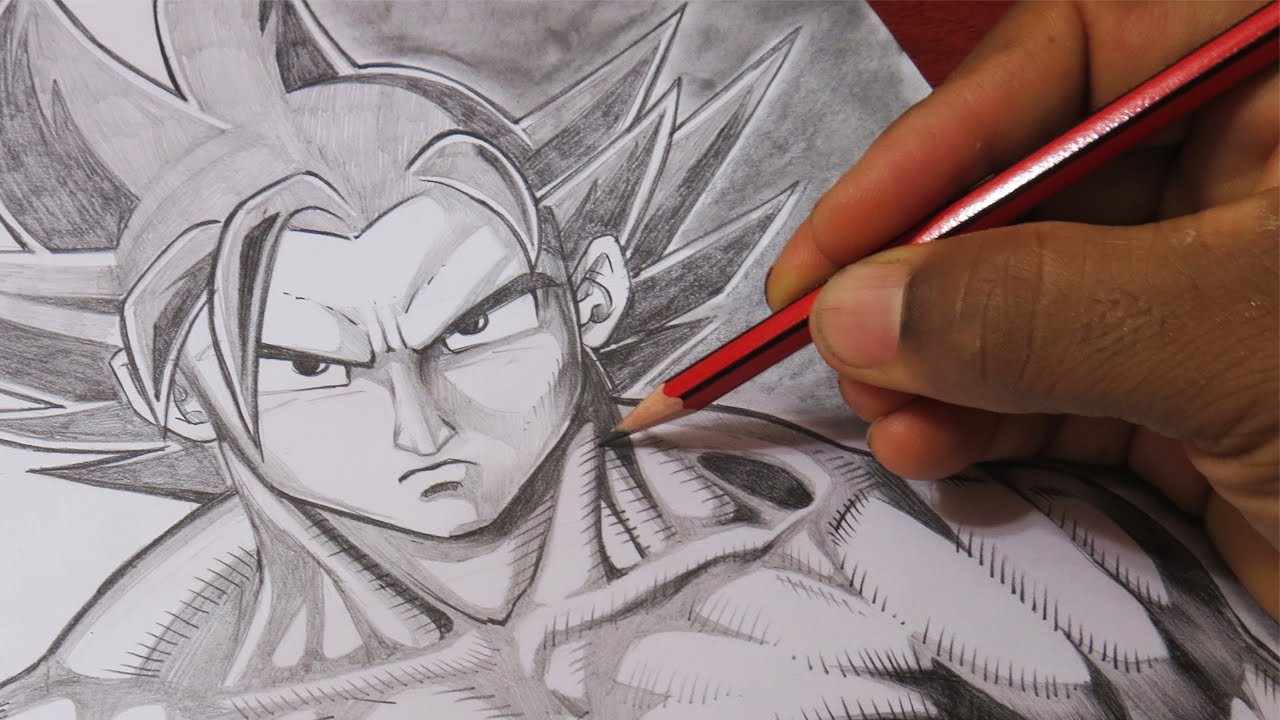 Dibujo De Goku Super Sayayin Dios Fase 5 Pintado Por En: Estilo De Dibujo Improvisado