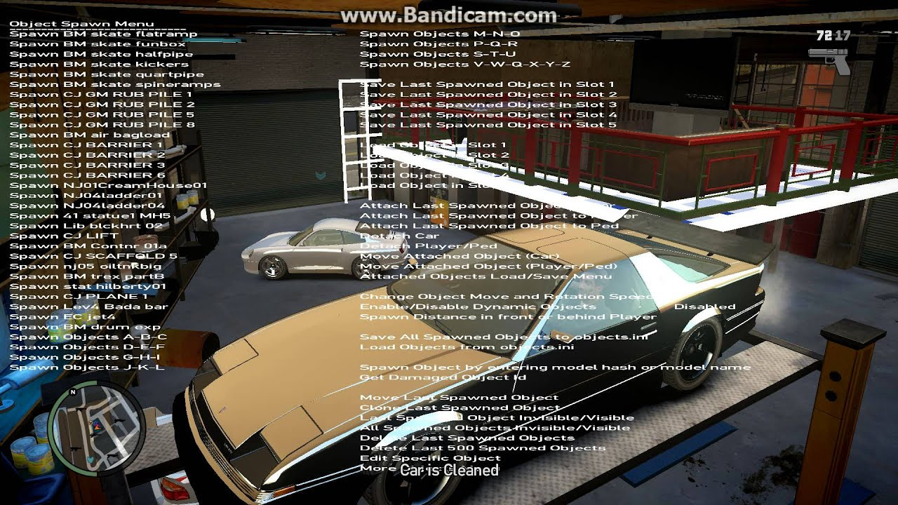 GTA IV online car tuning garage:trainer 6 5 object mod