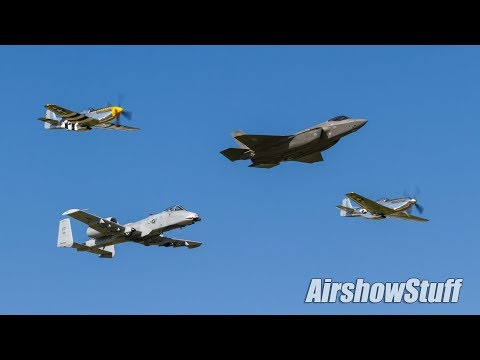 USAF Heritage Flight (F35/A-10/P-51s) and Missing Man Flyover - EAA AirVenture Oshkosh 2017