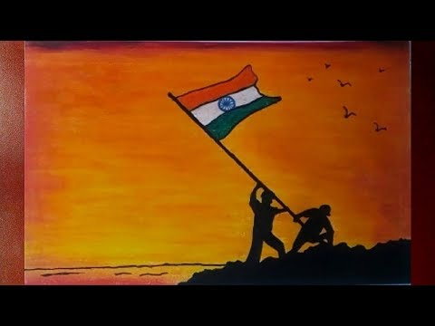 Independence Day Drawing With Oil Pastel Step By Step 15 August Drawing Youtube