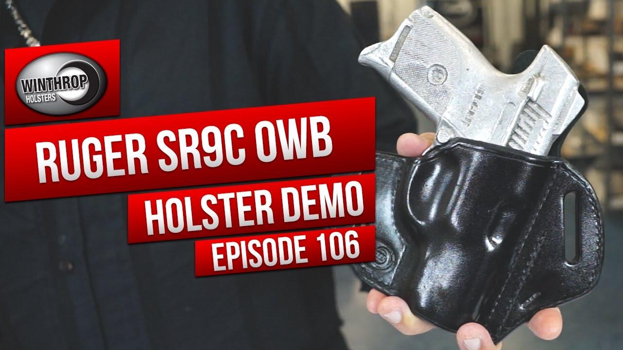 Ruger SR9c OWB Black Leather Holster By: WinthropHolsters com