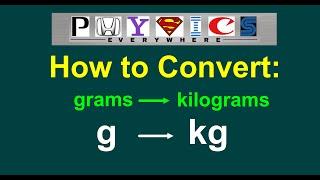 Converting g to kg (grams to kilograms)