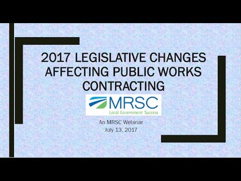 What's New in Public Works Contracting Legislation, July 2017