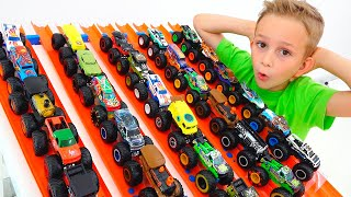 Vlad and Nikita play with toy monster trucks | Hot Wheels cars for kids