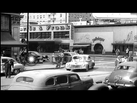 Street scenes near Hollywood and Vine in Los Angeles, 1950...HD Stock Footage