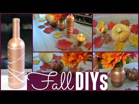 Fall Decor Diys! Leaves, Pumpkins, Wine Bottle, Mason Jar