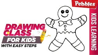 how to draw Christmas Gingerbread Man | Easy Step by step drawings for beginners/Learn drawing easy