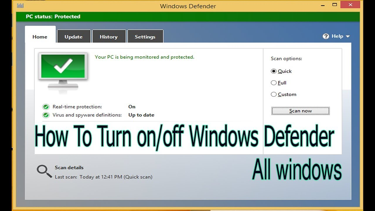 how to turn on or off windows defender in windows 8.1