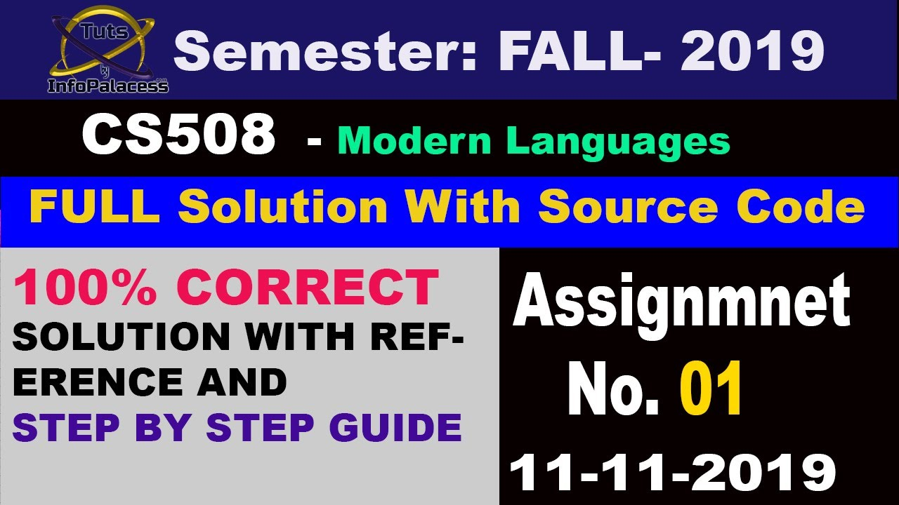 Solution of CS508 Assignment No  1 2019 with Step by Step