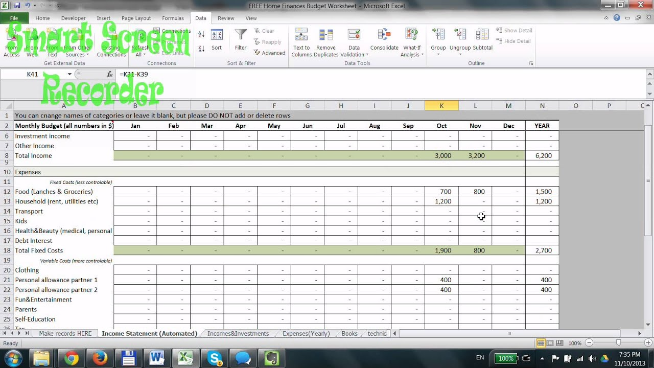 worksheet Free Household Budget Worksheet how to use free household budget spreadsheet in excel youtube