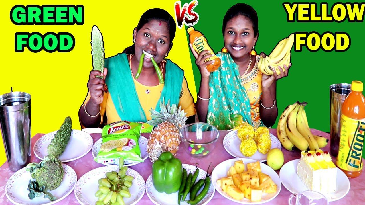 YELLOW FOOD vs GREEN FOOD CHALLENGE IN TAMIL FOODIES DIVYA vs ANUSHYA || EATING COMPETITON