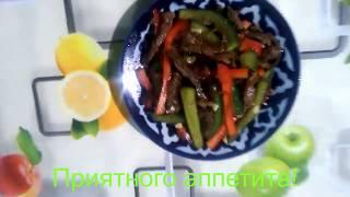Салат с огурцом и мясом / Бодринг ва гўштли салат