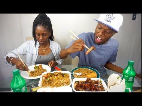 CHINESE FOOD MUKBANG (Hong Kong Steak, Spicy Garlic Chicken & Shrimp Egg Rolls)