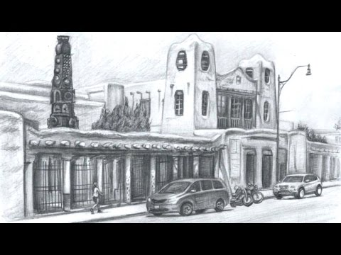 Drawing the New Mexico Museum of Art in Santa Fe - Quick Sketch