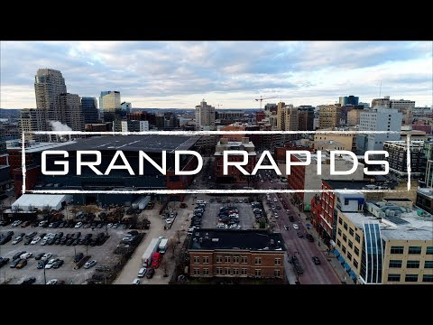 Grand Rapids Michigan Day/Night Aerial Footage