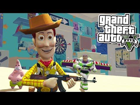 GTA 5 TOY STORY SAVING SPONGEBOB W/ Yoda, Power Rangers & More! (GTA 5 Mods)