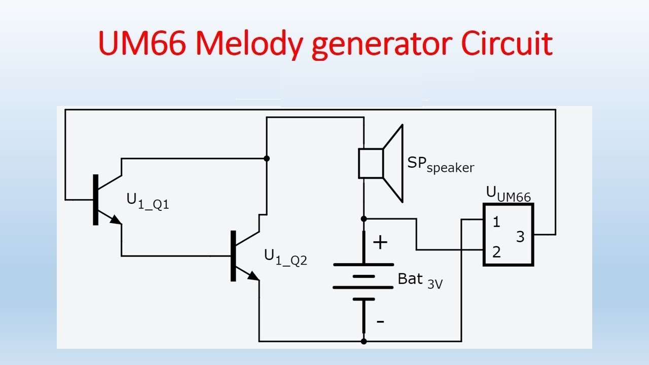 how to make um66 melody generator circuit youtube rh youtube com Wired Doorbell Chimes Electronic Bell Circuit