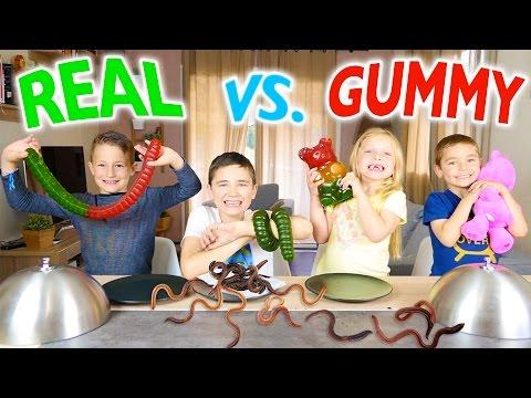 GUMMY FOOD VS REAL FOOD CHALLENGE - Kids Eat Real Worms - Super Gross Food !