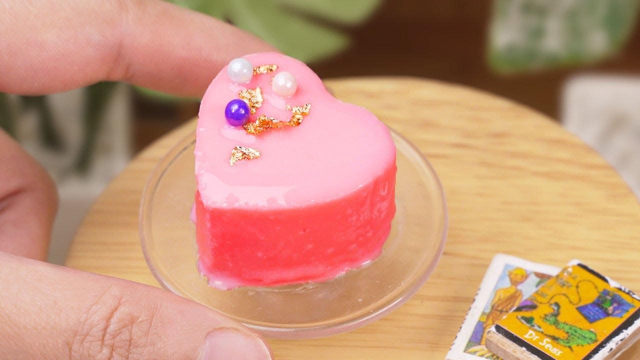 Fancy Miniature HEART CAKE Decorating For Tiny Cakes's Fan   So Yummy Miniature Cake Recipe Tutorial