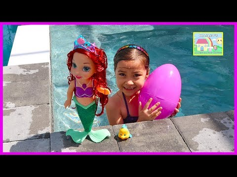 Thumbnail: Baby Colors of the Sea Ariel the Little Mermaid LightUp Water Toys + Big Egg Surprise Little Kingdom