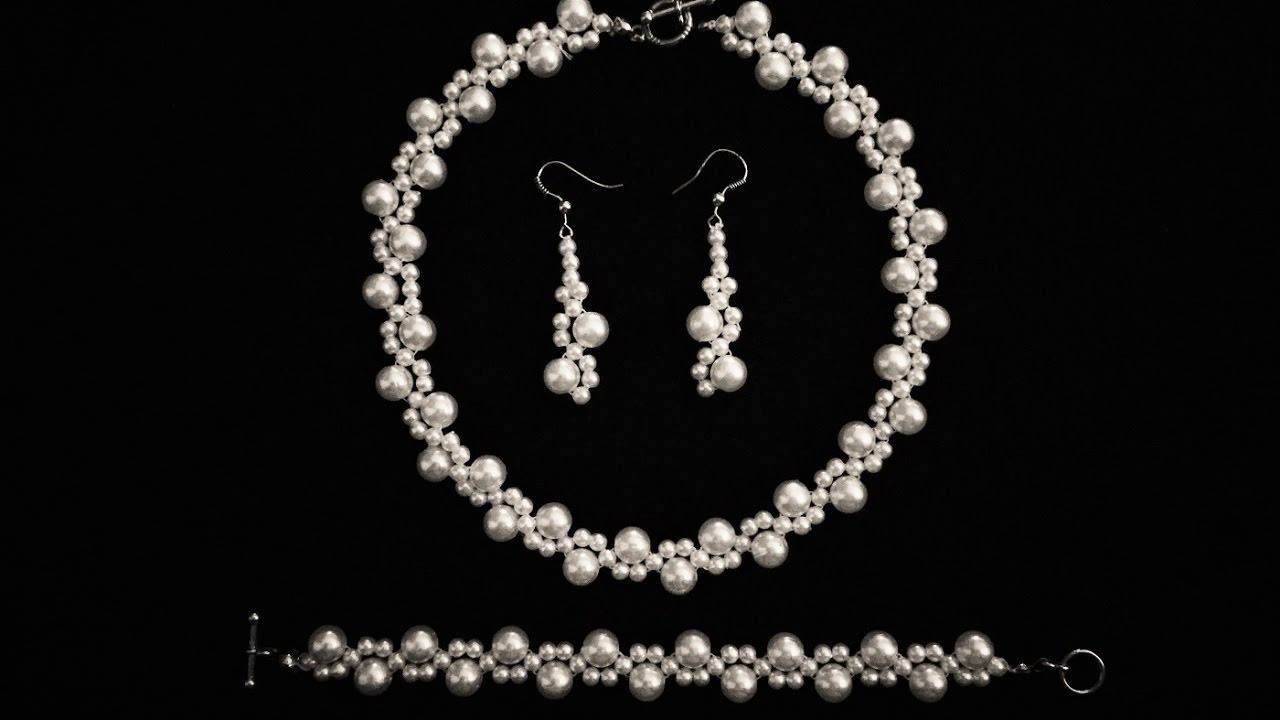 Beginners DIY jewelry pearl set -beaded necklace, bracelet ...
