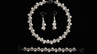 Beginners DIY jewelry pearl set -beaded necklace, bracelet, earrings