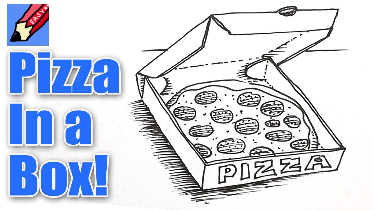 How To Draw Pizza In A Box Real Easy YouTube