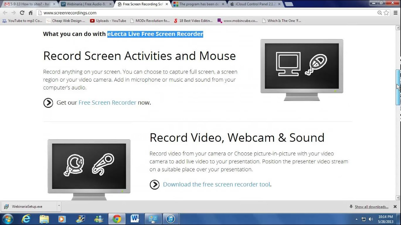 free video screen recording software - screen capture - electa - youtube